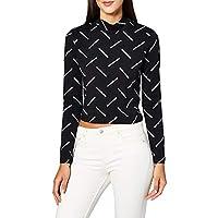 Calvin Klein Women's DIAGONAL LOGO MOCK NECK L/S T-Shirt, Black, Medium
