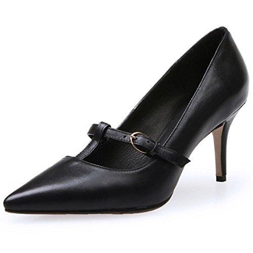 COOLCEPT Damen Pumps mit Absatz Stilett Spitze Toe Slip On Elegant Schuhe 2016 Schwarz