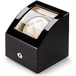 UhrTrieb Uhrenbeweger Gamma - hochglanz schwarz / creme für 2 Uhren UTR-04-13-13