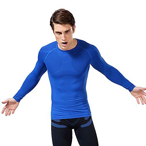 ACME-Fashion-Maglietta a compressione a maniche lunghe, per muscolatura base layer da uomo Blue