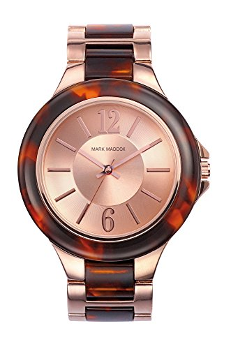 Mark Maddox Women's Quartz Watch with Rose Gold Dial Analogue Display and Turquoise Bracelet MP0001-95
