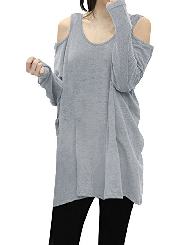 allegra-k-ladies-scoop-neck-cut-out-shoulder-loose-tunic-top-xl-light-grey