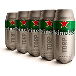 Heineken TORP®- Pack de 5 - Barril de cerveza de 2L de capacidad compatible con THESUB