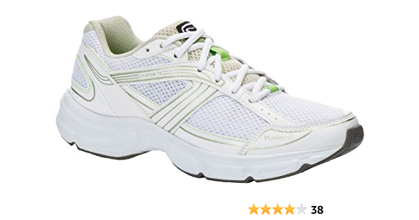 White and Green Mesh Running Shoes