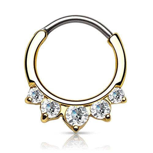 Autiga Nasenpiercing Septum Ring Clicker Nasenring Klapp Piercing Nase Zirkonia Kristall Chirurgenstahl Gold-transparent 1,2 mm