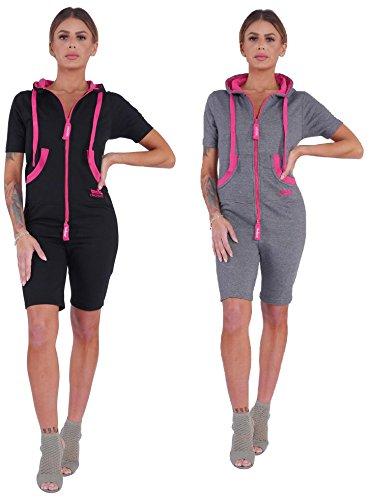 Finchgirl Damen Jumpsuit Sommer einteilig Jogging Trainingsanzug Overall (L, schwarz/pink)