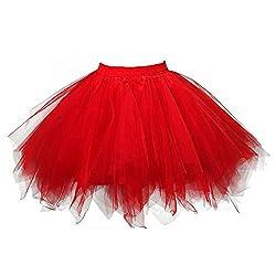 VEMOW Tutu Damenrock Cosplay Tüllrock 50er Kurz Ballet Tanzkleid Unterkleid Crinoline Petticoat Crinoline für Rockabilly Kleid Partykleder (Rot, XL)