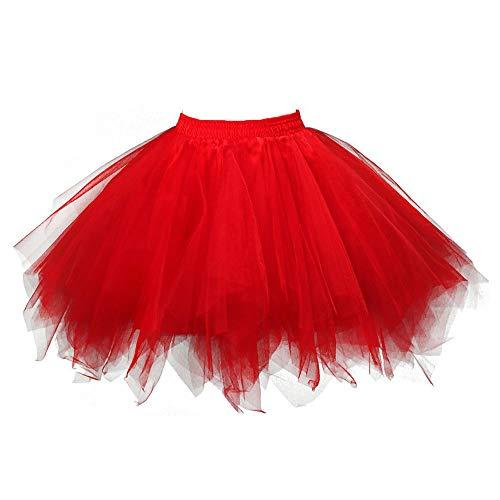 Girl Kostüm Rockabilly - VEMOW Tutu Damenrock Cosplay Tüllrock 50er Kurz Ballet Tanzkleid Unterkleid Crinoline Petticoat Crinoline für Rockabilly Kleid Partykleder (Rot, 3XL)