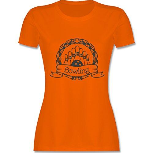 Bowling & Kegeln - Bowling Lorbeerkranz - tailliertes Premium T-Shirt mit Rundhalsausschnitt für Damen Orange