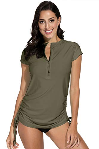 BesserBay Damen UV Tshirt Rash Guard Schwimmshirt UV Shirt Tankini Kurzarm Lycra 1/4 Zip Shirt UV-Schutz 50+ Olive