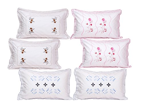Rj Products White Cotton Embroidered Pillow Covers (Set Of 6 Piece )