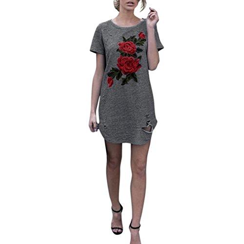 OverDose Damen Frauen Stickerei Loch Kurzschluss Hülsen Blumen Baumwolle Party Kleid (S, Grau)