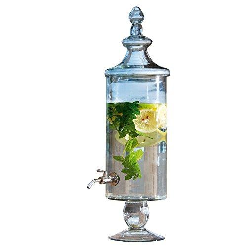 Loberon Getränkespender Lerrain, Glas/Metallzapfhahn, H/Ø ca. 55/16 cm, klar