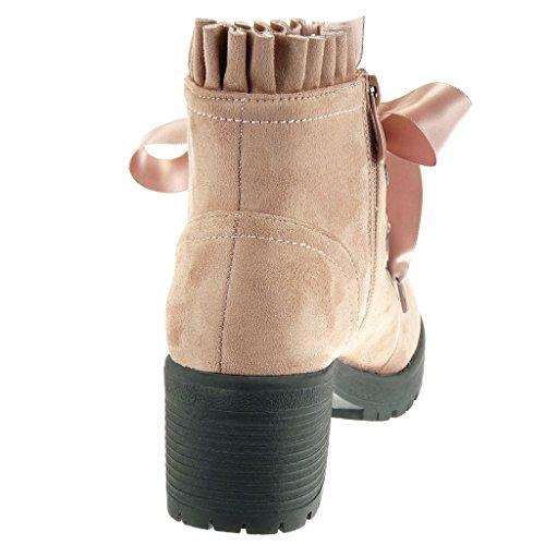 Tallone 6 Centimetri Pizzo Donna Raso Moda Rosa Intrecciato Rangers Taglio Di Nastro Piattaforma Angkorly Blocco Frangia Calzature HwFSw7