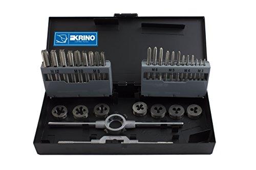Krino 17020501Gewindebohrer und Schneideisen HSS M 3÷ 12, Set 30Stück, Stahl