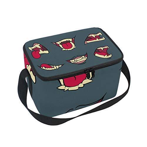 Alinlo Hot Lips Collection Lunch-Tasche, mit Reißverschluss, isolierte Kühltasche, Lunchbox, Meal Prep, Handtasche für Picknick, Schule, Damen, Herren, Kinder