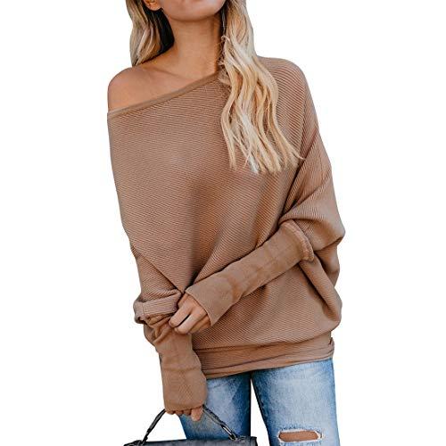 Ajpguot Pullover Damen Schulterfrei Pulli Sexy EIN Wort Kragen Langarm Sweater Oberteile Mode Einfarbig Jumper Tops Sweatshirt, M, 0202khaki