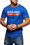 JACK & JONES Herren T-Shirt Kurzarmshirt Top Print Shirt Casual Basic O-Neck (Medium, Surf The Web)