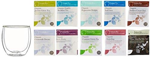 Solaris Tea Geschenkset Doppelwandiges Glas 300 ml mit 10 x Sorten Tee, 1er Pack