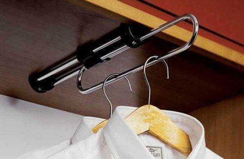 Perchero extraible, barra para la ropa con soporte para perchas, tubo cromado, longitud de extracción 40 cm