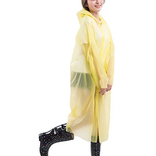 Zhhlaixing Fashion Women Outdoor Portable PEVA Transparent Disposable Raincoat 80517 Yellow