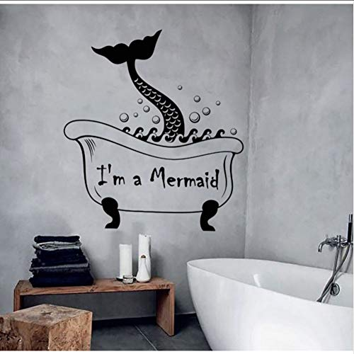 (Hjcmhjc) Nette Meerjungfrau Schwanz Wandtattoo Vinyl Abnehmbare Vintage Badezimmer Wandaufkleber Wasserdichte Waschraum Kunst Wandbilder Tapete 56 * 63 Cm (Motorrad-schwanz-net)