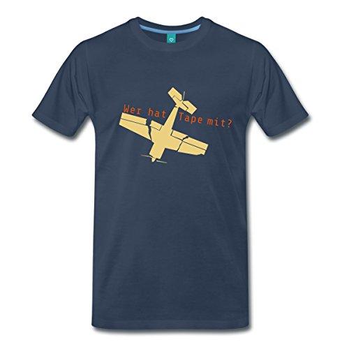 Spreadshirt Modell Fliegen Wer hat Tape mit Flugzeug Modellbau Männer Premium T-Shirt, M, Navy