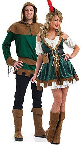 (Paar Erwachsene Herren & Damen Robin Hood Maid Marion TV Film mittelalterlich Outlaw Hero Bösewicht Verkleidung Kostümparty Verkleidung Outfit - Grün, Ladies UK 24-26 & Mens Medium)