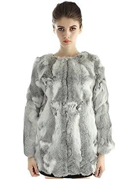 Vemolla Natural Conejo real chaquetas largas piel de las mujeres abrigos de invierno con la manga larga