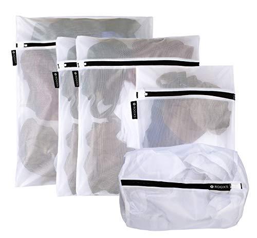 Rooxs Profi Wäschenetz Set (5 Teile) mit Reißverschluss für Waschmaschine und Trockner, Wäschenetze Feinmaschig, Wäschesack Faltbar, Waschsäcke ideal für Kleidung, Unterwäsche und Socken