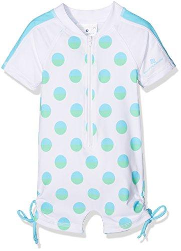 Snapper Rock Baby Mädchen & Knirpse UPF 50+ UV schützend warm Kurzarm Badeanzug für Kinder, Weiß/Aqua, 12-24 monate, 86-92cm