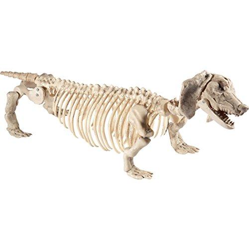 NET TOYS Halloween Skelett Dackel Deko Hundeskelett Knochen Dekofigur Hund Teckel Halloweendeko