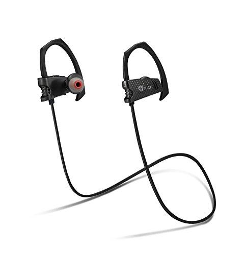 Wireless Bluetooth Kopfhörer,IPX7 Wasserdicht[Dr Rock],APT-X Audio Dekodierungstechnologie,verbesserte ergonomische Design für Sport,Kompatibilität für iPhone Samsung,Model[DR-B03]Schwarz
