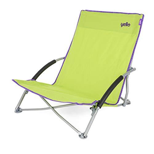 Yello, sedia pieghevole da spiaggia, bassa, unisex, low beach, green