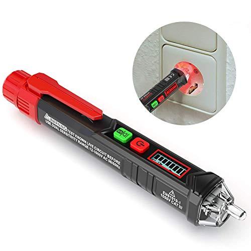 Berührungsloser Spannungsprüfer/Phasenprüfer, KAIWEETS AC Stromprüfer Durchgangsprüfer 12-1000V/48V-1000V, akustischer Summer und Lichtanzeige, mit LCD-Display und Taschenlampe (Rot)