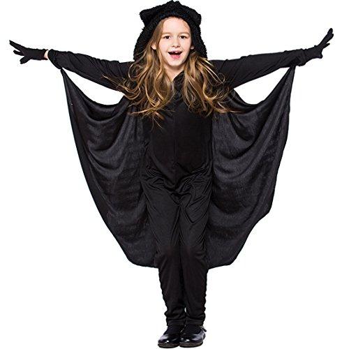 Little Big Girl Classic Black Bat Kostüm Overall für Dress Up & Rollenspiel Halloween Cosplay Kostüm mit Hut (Little Girl Dress Up Kostüme)