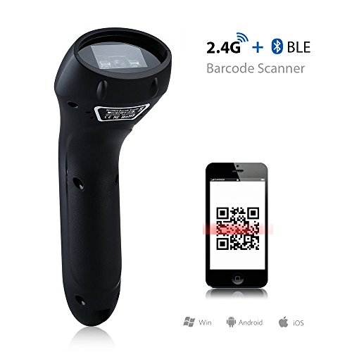 Lemonda USB Laser-Barcodescanner Bluetooth wireless Automatic 1D 2D QR Barcode Scanner Empfänger Handscanner for Apple iOS, Android, Window PC and tablets, support German keyboard