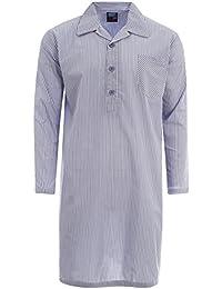 Mens Traditionnel Pyjamas Chemise De Nuit Été Pyjama Haut À Carreaux Rayure