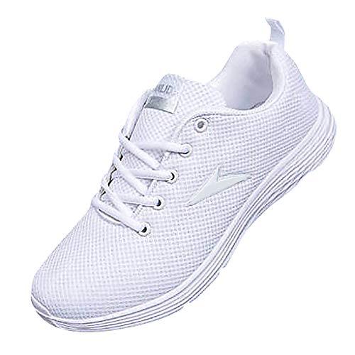 Sportschuhe für Herren/Skxinn Männer Fitness Laufschuhe, Gym Casual Turnschuhe Ultraleichte Mesh Atmungsaktive Sneaker, straßenlaufschuhe rutschfeste Mode Freizeitschuhe Ausverkauf(Weiß,44 EU)