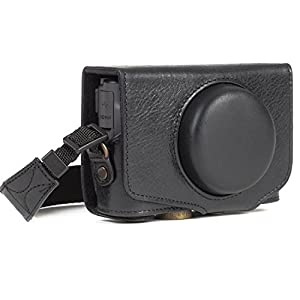 MegaGear MG1176 Canon PowerShot SX740 HS, SX730 HS Ever Ready Genuine Leather Camera Case with Strap - Black