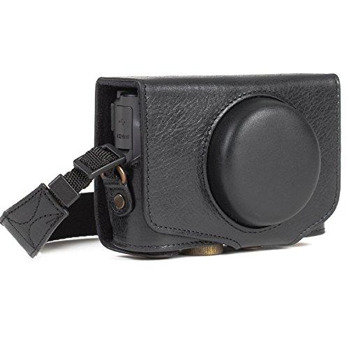 MegaGear MG1176 Canon PowerShot SX740 HS, SX730 HS Ever Ready Echtleder Kameratasche mit Trageriemen - Schwarz (Megagear Kamera-tasche)