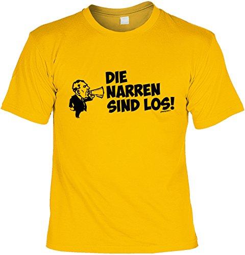 Fun Shirt mit Karneval Motiv: Die Narren sind los! - Shirt für Fasching - Kostüm Alternative - Faschingskostüm - gelb Gelb