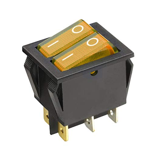 WITTKOWARE 3er-Pack Dual-Kontroll-Wippenschalter, 30x22mm, 2-polig, EIN/AUS, 15A/250V, I/O, gelb -