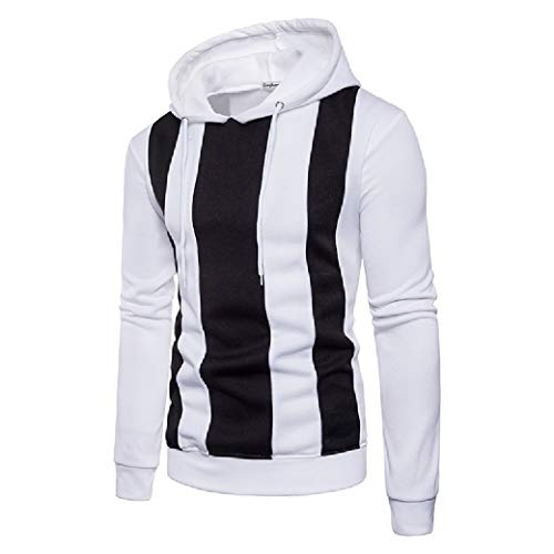 VITryst Mens Basic Style Regular-Fit Athletic Fit Contrast Sweatshirts White L Youth Zip-front Hoodie
