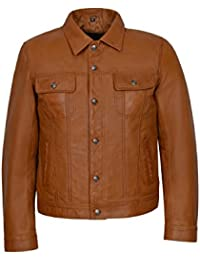 TRUCKER Men's Tan Classic Western Real Napa Soft Genuine Leather Jacket Shirt