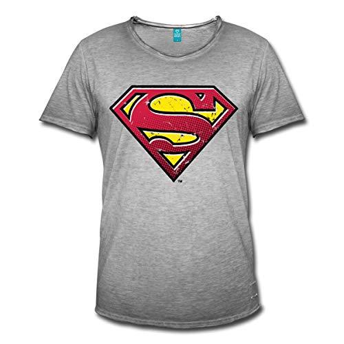 Spreadshirt DC Comics Superman Logo Used Look Männer Vintage T-Shirt, XL, Vintage Grau (Mann Of Steel Superman Kostüm T Shirt)