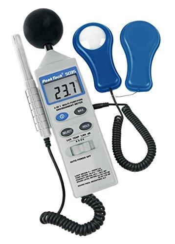 """PeakTech\""""4 in 1\"""" Multifunktions-Umweltmessgerät mit Lux-Meter, Schallpegelmessung, Temperatur und Luftfeuchtigkeit, 1 Stück, P 5035"""