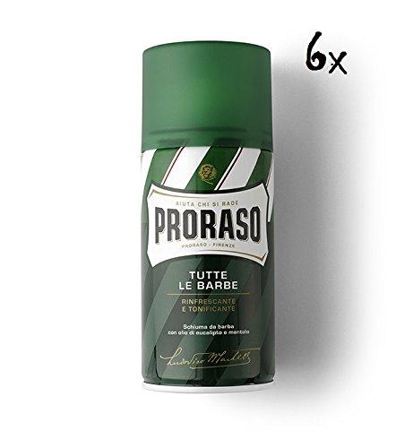 6x PRORASO Shaving foam Cream seife Rasierschaum Eukalyptusöl und Menthol 400ml