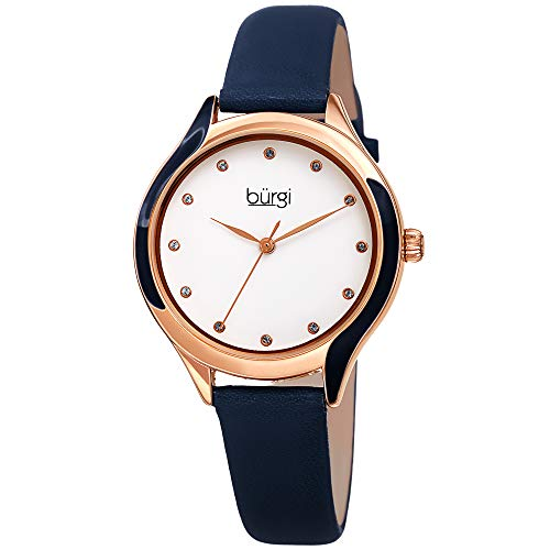 Burgi Swarovski BUR248 Women's Watch with Genuine Leather Skinny Strap,...