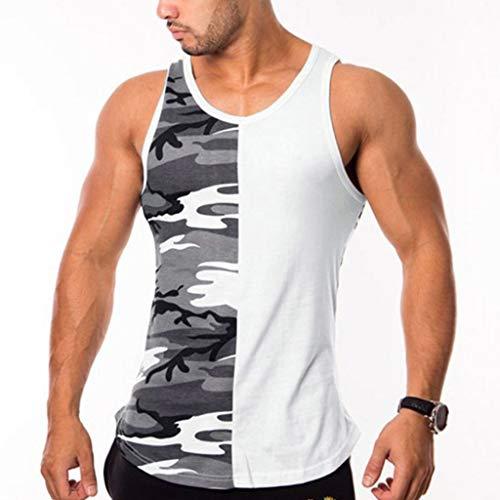 Camouflage Tank Top für Herren   Skxinn Muskelshirt ideal für Sport Gym Fitness & Bodybuilding   Muscle Shirt - Stringer - Tanktop - Unterhemd - Achselshirt M-XXXL Ausverkauf(Grau,XX-Large)